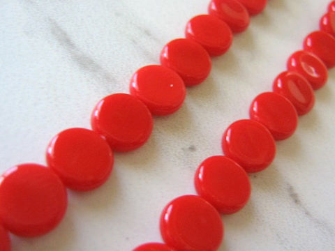 Red,Opaque,10mm,Flat,Round,Coin,Czech,Glass,Beads,red_czech_beads,red_czech_coins,red_coin_beads,red_flat_round_beads,glass_beads,red_glass_beads,flat_round_beads,czech_glass_beads,red_beads,pressed_glass,craft_supplies