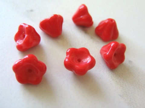 Red,Opaque,Czech,Glass,Beads,8x6mm,Tulip,Flower,Bell,6x8mm,glass_flowers,flower_beads,red_flowers,czech_beads,red_beads,glass_beads,czech_flower,bell_flowers,red_opaque_flower,8mm_flower,jewelry_supplies,international,czech glass