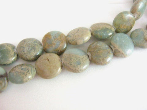 Aqua,Terra,Jasper,13mm,Coin,Gemstone,Beads,Flat,Round,Blue,Tan,aqua_terra jasper beads,impression_jasper beads,blue_jasper,jasper_beads,blue_gemstone,brown_and_blue,13mm_flat_round beads,jasper_coin,coin_gemstone,jewelry_supplies,Beads2string,brown_jasper,aqua terra jasper, brown blue beads,