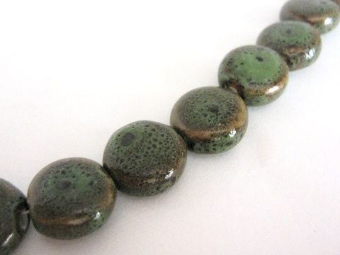 Honey,Green,14mm,Coin,Porcelain,Beads,Flat,Round,beads,Ceramic beads,porcelain beads,green coin beads,flat round beads,coin beads,14mm coin beads,Beads2string,green porcelain beads, bead store, craft store,