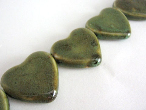 Honey,Green,Brown,32x30mm,Flat,Heart,Porcelain,Beads,Supplies,Bead,Ceramic,porcelain,beads,brown,green,flat,heart,32mm,30x32mm,pottery,ceramic beads,Beads2string,ship_international,porcelain beads, bead store