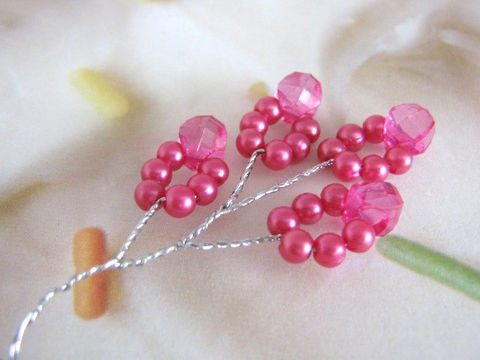 Fuchsia,Pink,Pearl,Bead,Spray,Floral,Bunch,Plastic,pink_beaded_spray,floral_picks,floral_sprays,hot_pink,plastic_pearl_bead_spray,wedding_supply,floral_supply,beaded_spray,headpiece_pearls,Beads2string,TheKraftyPlace,craft store, floral supply store