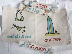 Custom,Kids,Canvas,Goody,(Tote),Bags-,Summer,Fun,Bags_And_Purses,Tote,birthday,kids,eco,party_favor,personalized,etsynj_team,goody_bag,children,luau_party,bikini,surf_board,surfboard,canvas tote,graphics,heat press,computer,my imagination