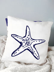 Starfish,Pillow,Housewares,Novelty,beach_house,beach_house_living,beach_chik_designs,seashell_pillow,starfish_pillow,seahorse_pillow,nautical,navy_blue_white,coastal_pillow,shore,custom_pillow,seashore,starfish