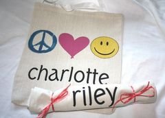 Peace,,Love,and,Happiness,Totes,children,tote_bag,goody_bag,loot_bag,party_favor,peace,love,happiness,eco,etsynj_team,kids,kids_tote,birthday,personalized,tote_bags,ink,computer