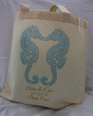 Kissing,Seahorses,Totebags-,Destination,Wedding,Weddings,wedding_favor,destinationwedding,tote_bags,totes,seahorse,beach_bride,barefoot_bride,shore,beach_wedding,etsynj_team,hotel_guest,hotel_welcome,kissing_seahorses