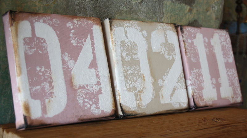Welcome Bebe- Vintage Inspired Birthdate Canvases - product images  of