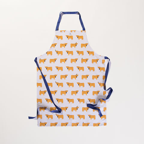 'Highland,Coos',Apron,-,Wexford,Linen,braw scotland, braw, scottish, home accessories, homewares, Highland Cow, hand drawn, illustration, Linen, Apron, UK Made, Textile, Scotland