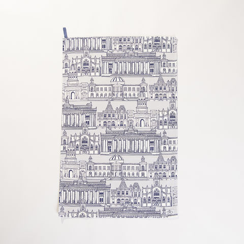 'Edinburgh,Illustration',Tea,Towel,-,Wexford,Linen,braw scotland, braw, scottish, home accessories, homewares, Edinburgh, Skyline, Central Library, National Gallery, General Register House, National Library, St Giles, Cathedral, Wexford Linen, Tea Towel, UK Made, Textile, Scotland