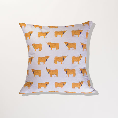 'Highland,Coos',Cushion,Cover,-,Wexford,Linen,braw scotland, braw, scottish, home accessories, homewares, Puffins, Birds, Sea life, Wexford Linen, Cushion Cover, UK Made, Textile, Scotland