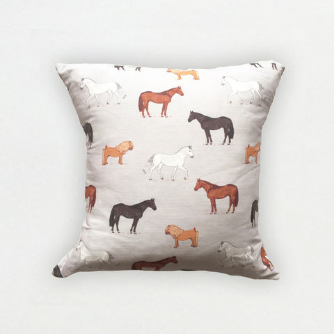 'Horses',Cushion,Cover,-,Wexford,Linen,braw scotland, braw, scottish, home accessories, homewares, horses, horse print, shetland print, pony print, equestrian print, Wexford Linen, Cushion Cover, UK Made, Textile, Scotland