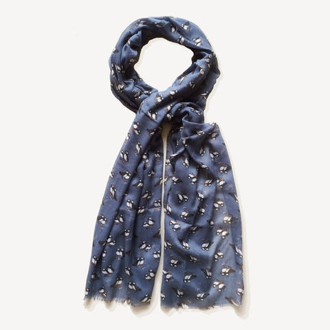 Puffin,Print,Scarf,-,Navy,peony, peony scarf, mothers day, mother, mothers gifts, mothers day gifts, scarf, puffin print scarf, puffin print, printed scarf, scarf gift