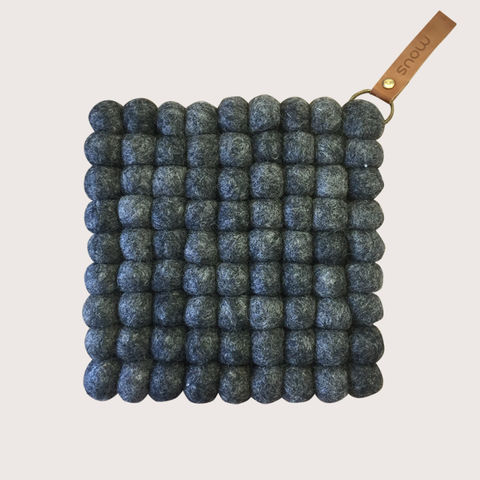 Snow,Trivet,-,Anthracite,trivet, felt, felt ball trivet, ball, felted, scandi, scandinavian, design, scandi design, danish, denmark, danish design, danish homewares, homewares, home accessories, living danishly, live danishly, danishly, live