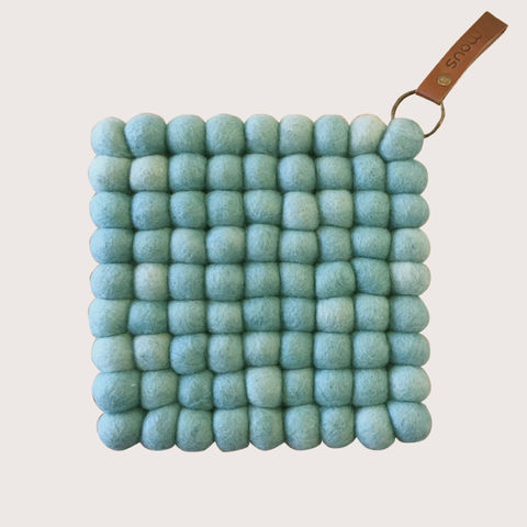Snow,Trivet,-,Mint,trivet, felt, felt ball trivet, ball, felted, scandi, scandinavian, design, scandi design, danish, denmark, danish design, danish homewares, homewares, home accessories, living danishly, live danishly, danishly, live