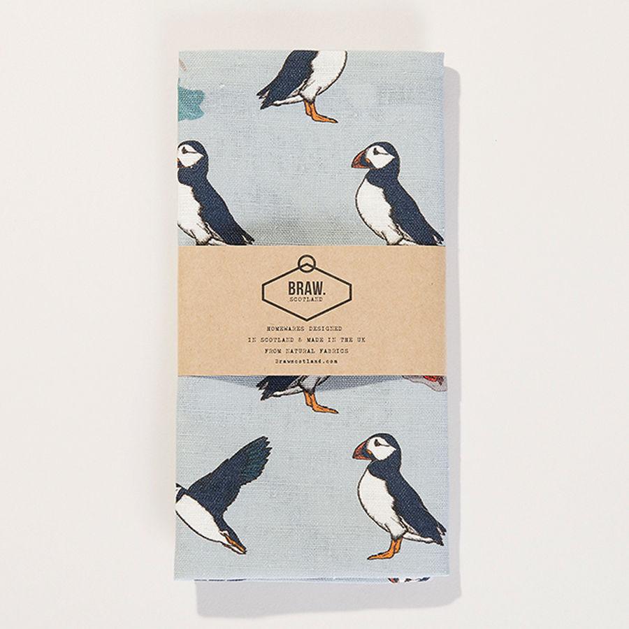 puffins u0027 tea towel wexford linen braw scotland