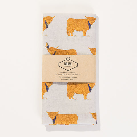 'Highland,Coos',Tea,Towel,-,Wexford,Linen,braw scotland, braw, scottish, home accessories, homewares, Highland Cow, Wexford Linen, Tea Towel, UK Made, Textile, Scotland