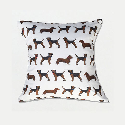 'Border,Sausage',Cushion,Cover,-,Wexford,Linen,braw scotland, braw, scottish, home accessories, homewares, border terrier, sausage dog, border terrier fabric, sausage dog fabric, dachshund fabric, terrier fabric, dog fabric, dog print, Wexford Linen, Tea Towel, UK Made, Textile, Scotland