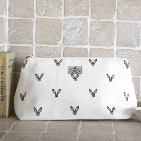 Hare,Print,Wash,Bag,cosmetics bag, make up bag, scottish cosmetics bag, hare print, bunny print