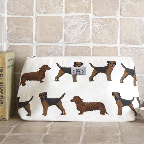 Border,Sausage,Print,Wash,Bag,cosmetics bag, make up bag, scottish cosmetics bag, scottish make up bag, scottish, terrier, dachshund, scottish dog, border terrier print cosmetics bag, dog print make up bag, dog print bag