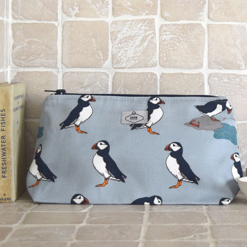 Puffin,Print,Wash,Bag,cosmetics bag, make up bag, scottish cosmetics bag, scottish make up bag, scottish, puffin, puffin print, scottish puffin, puffin print cosmetics bag