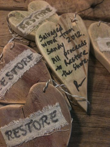 Restore,the,Shore,Salvaged,Wood,Heart,Ornament,restore the shore, salvaged wood, superstorm sandy, jersey shore restore, jersey shore, reclaimed wood, trash from sandy, recycled art, eco art, green art, eco ornament, recycled ornament, non profit