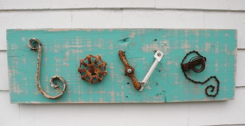 Salvaged,Love,Sign...in,the,middle,scrap metal love sign, salvaged wood sign, salvaged love sign, recycled love sign, reclaimed wood sign, love, love sign, recycled metal, old tool art, love sign art