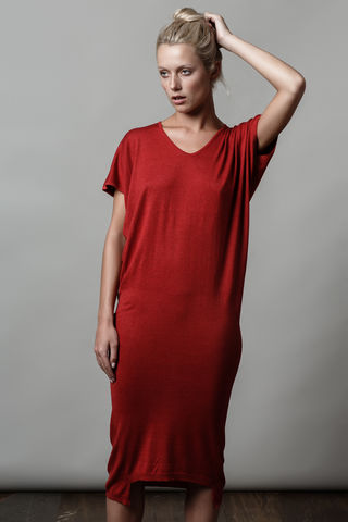 Clovit,Dress,,Cherry,Red.,dress, knit dress, Clovit, v neck, silk cotton, cherry, red, day dress, edgy, fashion, style, Irish Design, top dress, casual dress, work dress, office style, street style.