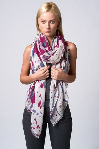Jackson,Scarf,twill weave, jackson, scarf, cashmere, paint splash design, silk screen, dark pink, taupe, denim, winter wear, summer wear, autumn wear, Sian Jacobs, statement scarf