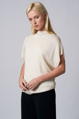 Tim,Drape,Sweater,drape, top, cashmere silk, Tim, off-white, evening wear, comfortable wear, winter wear. jumper-top, drapping,