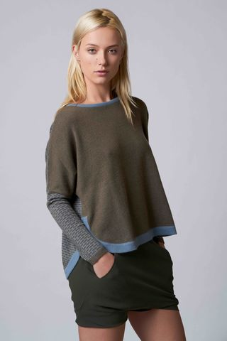 Alma,1,Sweater,brick, cashmere, contrast, jacquard knitwear, jumper, sweater, Alma 1, khaki, moody blue, casual wear, evening wear, winter wear, autumn wear, style, fashion, clothing, comfort.