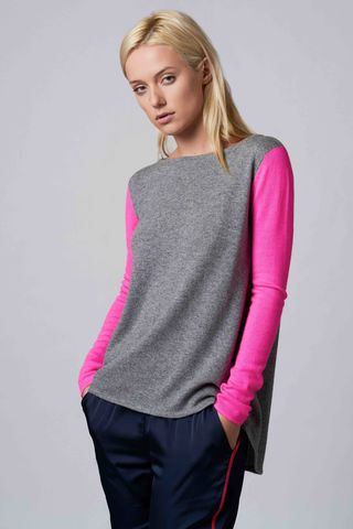 Kinga,Heavy,Sweater,cashmere, sweater, contrast, sleeve, kinga, heavy, neon pink, grey, casual wear, clothing, sports wear