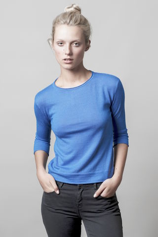 Suzanne,sweater,crew neck, cornflower,  blue, sky,buttons, 3/4 sleeve, sweater