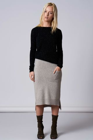 Josie,skirt,100% cashmere, light melange grey, skirt, knitted, waistband, elastic, midi, below the knee, designer, fashion
