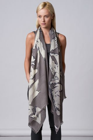 Big,Flower,scarf,baby diamond, scarf, cashmere, abstract flower, Big flower, taupe