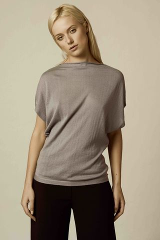 Tim,top,tim, cashmere silk mix, draped top, steel,