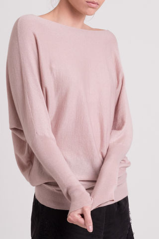 Winnie,Sweater,Cashmere, sweater, Winnie sweater, draped sweater, jumper, slash neck sweater,  boat neck,ribbed sleeve, button detail, fitted sweater, deep hem, side ruche, draped effect jumper, fluff colour, pale pink, silk blend, Sian Jacobs, comfort wear, evening wea