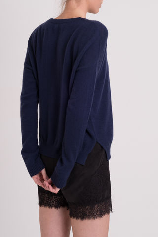 Zeek, cashmere, casual, sweater, navy, dark, round neck, crew neck, easy fit, loose