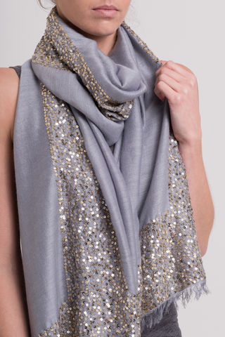 Sparkle,Steel,sparkle, scarf. t bar, sequins, embellished, long scarf, evening wear scarf, cashmere silk, designer scarf