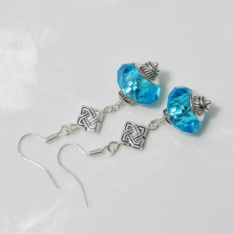 Jewel,Tone,Earrings,Celtic,Knot,Large,Crystals,Crystal earrings, celtic knot, jewel tones, aqua, black, clear