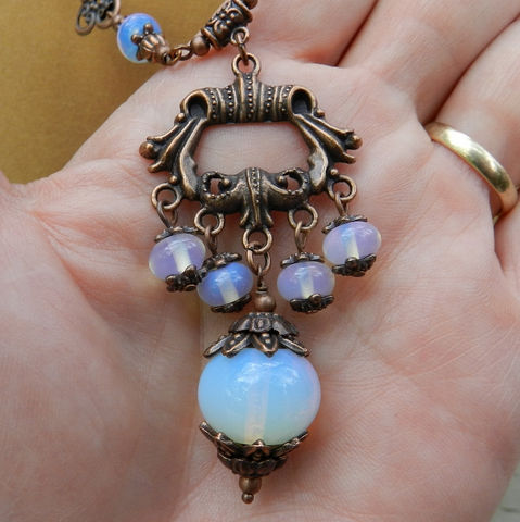 Opalite,Jewelry,Set,Antique,Copper,OOAK,Necklace,&,Earrings,mckenzie_creek,one_of_a_kind,handmade,jewelry_set,original_design,copper,opalite,toggle,dangle,sea_opal,gift
