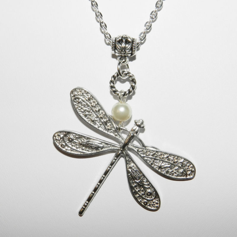 Dragonfly Necklace, Silver Necklace, Pendant,  Pearl Accent, Chain - product images  of