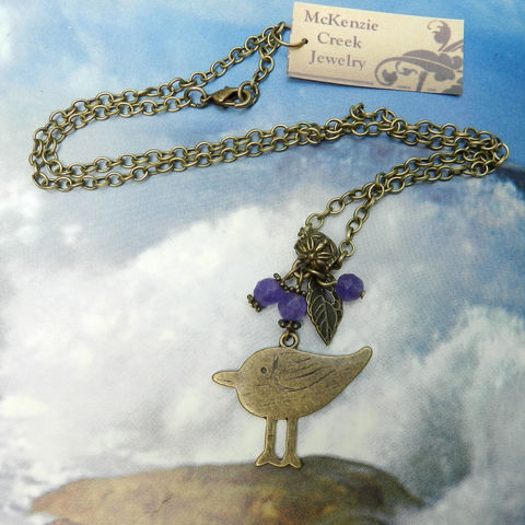 Bird,Necklace,,Purple,Antique,Brass,Chain,,Pendant,,Leaf,Necklace,Jewelry,bird_necklace,purple_necklace,antique_brass,chain_necklace,nickel_safe,faceted_beads,sugilite_necklace,leaf_pendant,bird_pendant,lobster clasp,Chain,bail,bird charm,spacers,eye pins,jump rings,sugilite beads,leaf charm