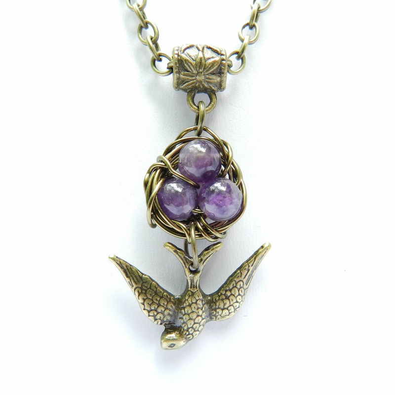 Purple Bird Nest Necklace, Amethyst Necklace, Antique Brass Chain, Bird Pendant, Purple Jewelry - product images  of