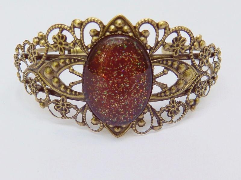 Bangle Bracelet Red Bangle Cabochon Jewelry Mckenzie Creek Jewelry