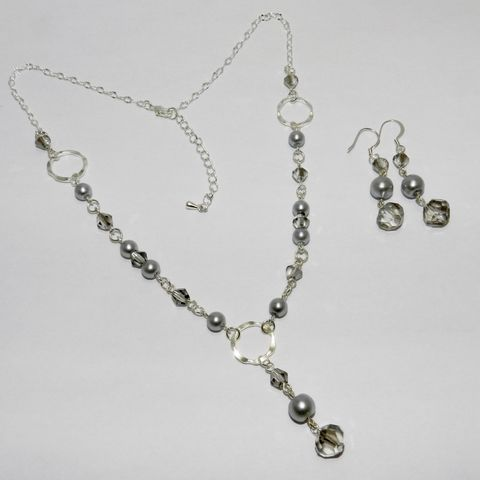 Silver,Pearl,Smoky,Crystal,Necklace,&,Earring,Set,Bridal,Wedding,Prom,Special,Occasion,Jewelry,  pearl necklace, pearl earrings, crystal necklace, crystal earrings, silver pearls, dangle, special occasion, bridal, prom, gift for girl, gift for woman, McKenzie Creek Jewelry