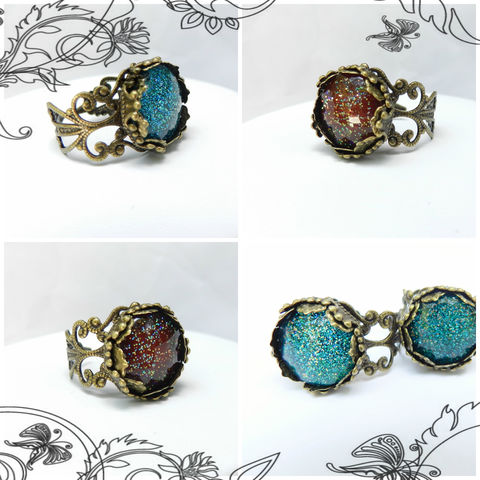 Glitter,Ring,with,nail,polish,cabochon,adjustable,antique,brass,filigree,band,turquoise,or,dark,red,Jewelry, Ring, adjustable, red, teal, turquoise, glitter cabochon, nail polish jewelry, antique brass, McKenzie Creek Jewelry