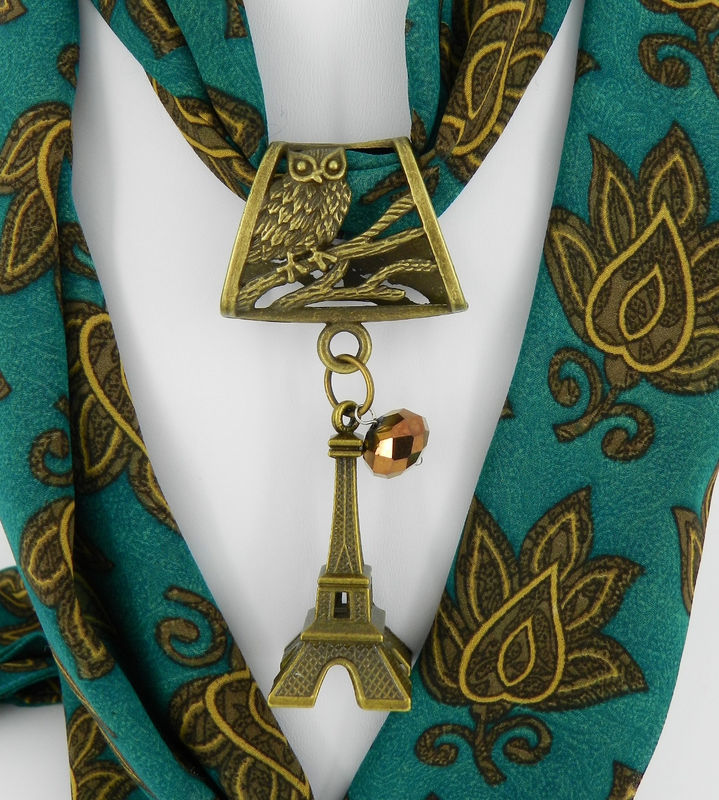 Eiffel Tower Jewelry ~ Owl ~ Antique Brass ~ Scarf Pendant ~ Scarf Accessory~ Scarf Charm - product images  of