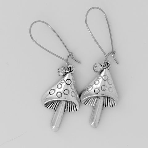 Silver,Mushroom,Earrings,with,Rhinestone,Accents,Jewelry,Mushroom_earrings,'shroom_earrings,fairy_jewelry,earthy,fun,rhinestone,kidney_earwires,Mushroom charms,rhinestone dangles,kidney earwires