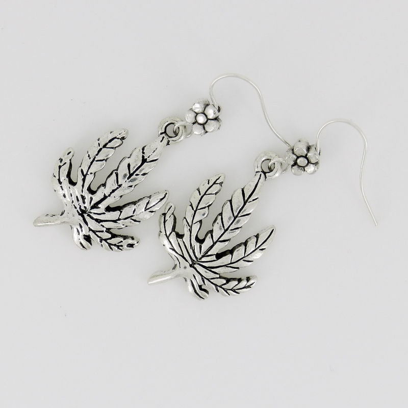 Cannabis Earrings ~ Marijuana Leaf Earrings ~ Hippie Jewelry  - product images  of