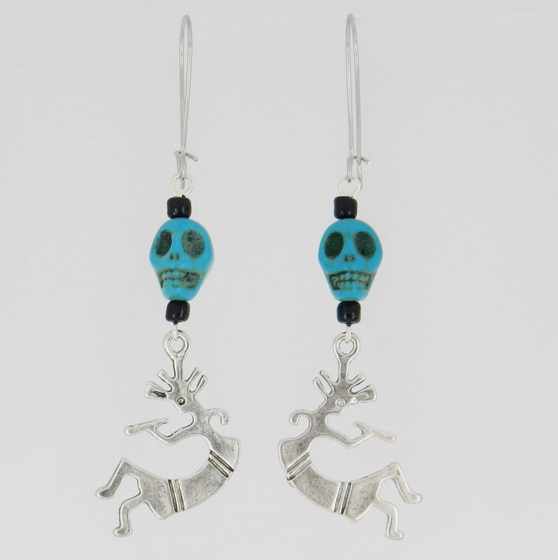 Skull Earrings with Kokopelli Charms ~ Turquoise ~ Southwest Jewelry - product images  of